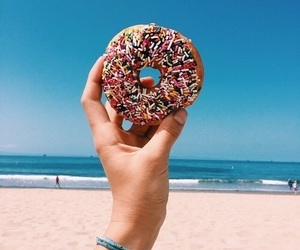 beach, donuts, and food image