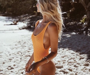bikini, hairstyle, and summer image
