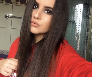 brunette, face, and hair image