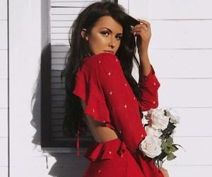 fashion, floral, and red dress image