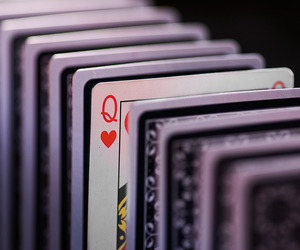 cards, queen of hearts, and letter q image