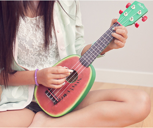 girl, guitar, and watermelon image