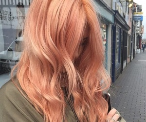hair, peach, and aesthetic image