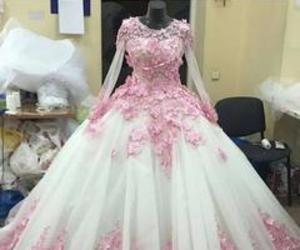 ball gowns, long sleeve, and pink image