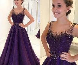 a-line, evening dress, and purple image