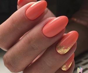 coral, nail art, and nails image
