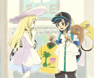 couple, lillie, and pokemon sun and moon image