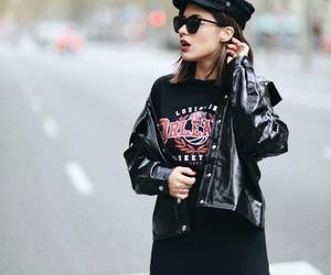 black, fashion, and leather jacket image