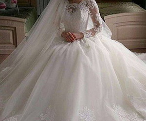fall, modest wedding dress, and illusion lace image