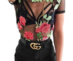 black, lace, and roses image