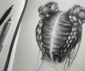 art, hairstyle, and drawing image