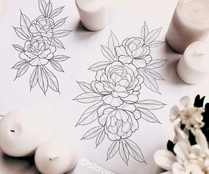 art, flowers, and sketch image