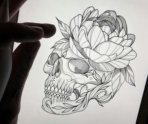 art, flower, and drawing image