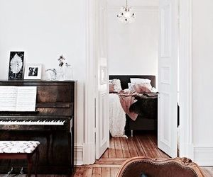 interior, piano, and bed image