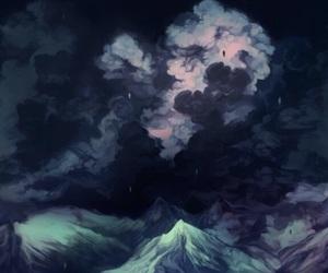 art, night, and moon image
