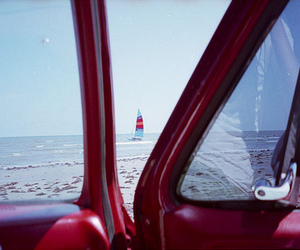 beach, sail boats, and truck image
