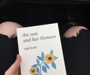 book, flowers, and poetry image