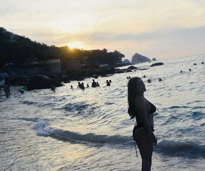 beach, sunset, and mexico image