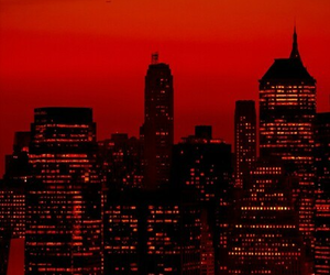 red, city, and dark image