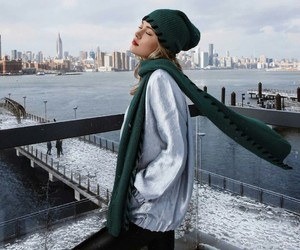 beanie, scarf, and street style image