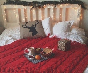 bed, christmas, and fairy lights image