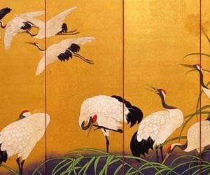 19. jahrhundert, kiitsu suzuki, and kraniche im schilf image