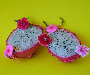 colorful, dragonfruit, and flowers image