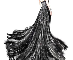 black, black dress, and fashion illustration image