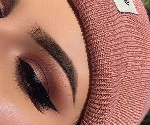 beanie, highlight, and lashes image