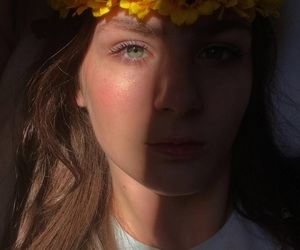 eyes, light, and flower image