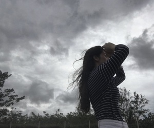 girl, sky, and wind image