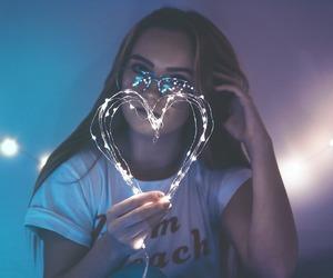 light, heart, and girl image