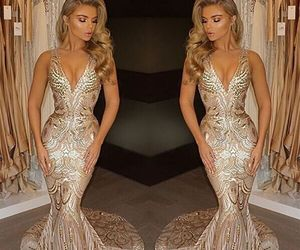evening dress, gold dress, and mermaid image