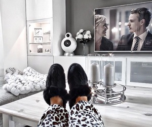 black and white, cozy, and decoration image