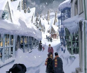 harry potter, hogsmeade, and snow image