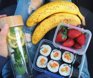 food, sushi, and banana image