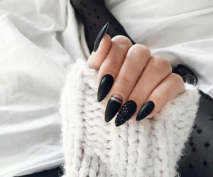 black, nails, and classy image