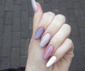 long nails, nails, and almond shape image
