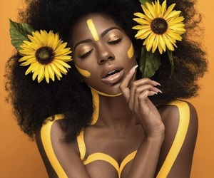 yellow, flowers, and black image