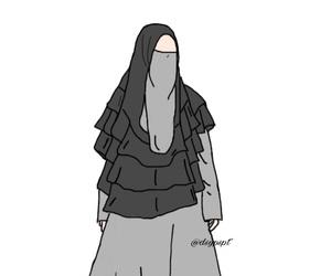 niqab, art, and girls image