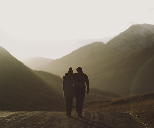 love, couple, and landscape image