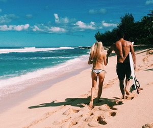 beach, couple, and love image