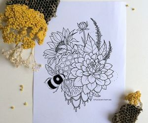 art, draw, and bee image