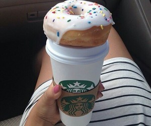 donuts, starbucks, and food image