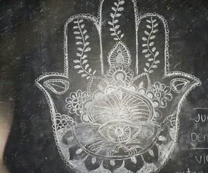 b&w, blackboard, and mandalas image