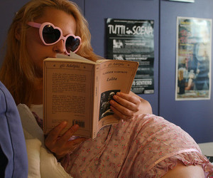 blonde, book, and girls image