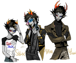 gemini, sollux, and blue and red eyes image