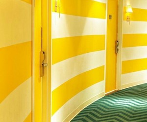 yellow, hotel, and stripes image