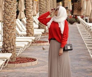 hijab and pleated skirt image