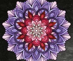 mandala, purple, and red image